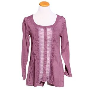 Free People Peasant Blouse Tunic Lace Button Top S